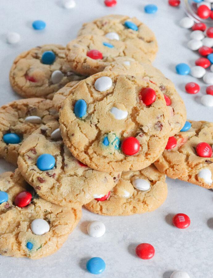 Patriotic M&M Chocolate Chip Cookies